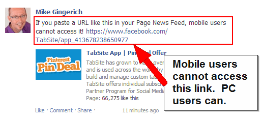 The Facebook Link to this Tab will not work for Mobile Users