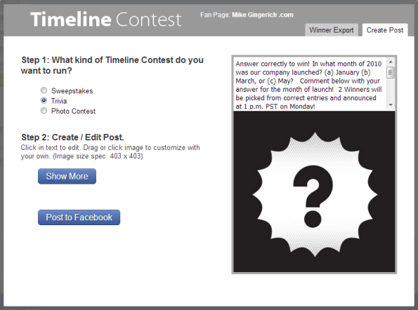 trivia timeline contest for Facebook