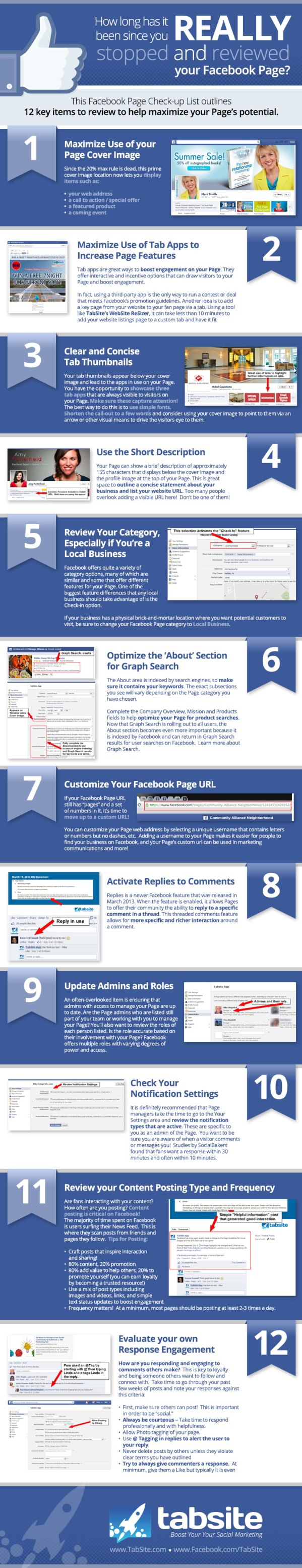 12 Facebook Page Items to Review Checklist Facebook Page Checkup Guide [INFOGRAPHIC CHECKLIST]