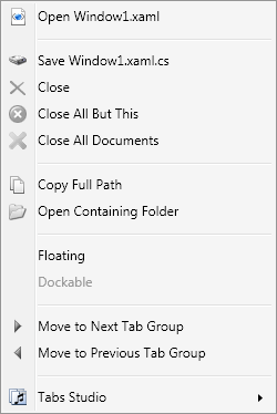 Document tab context menu
