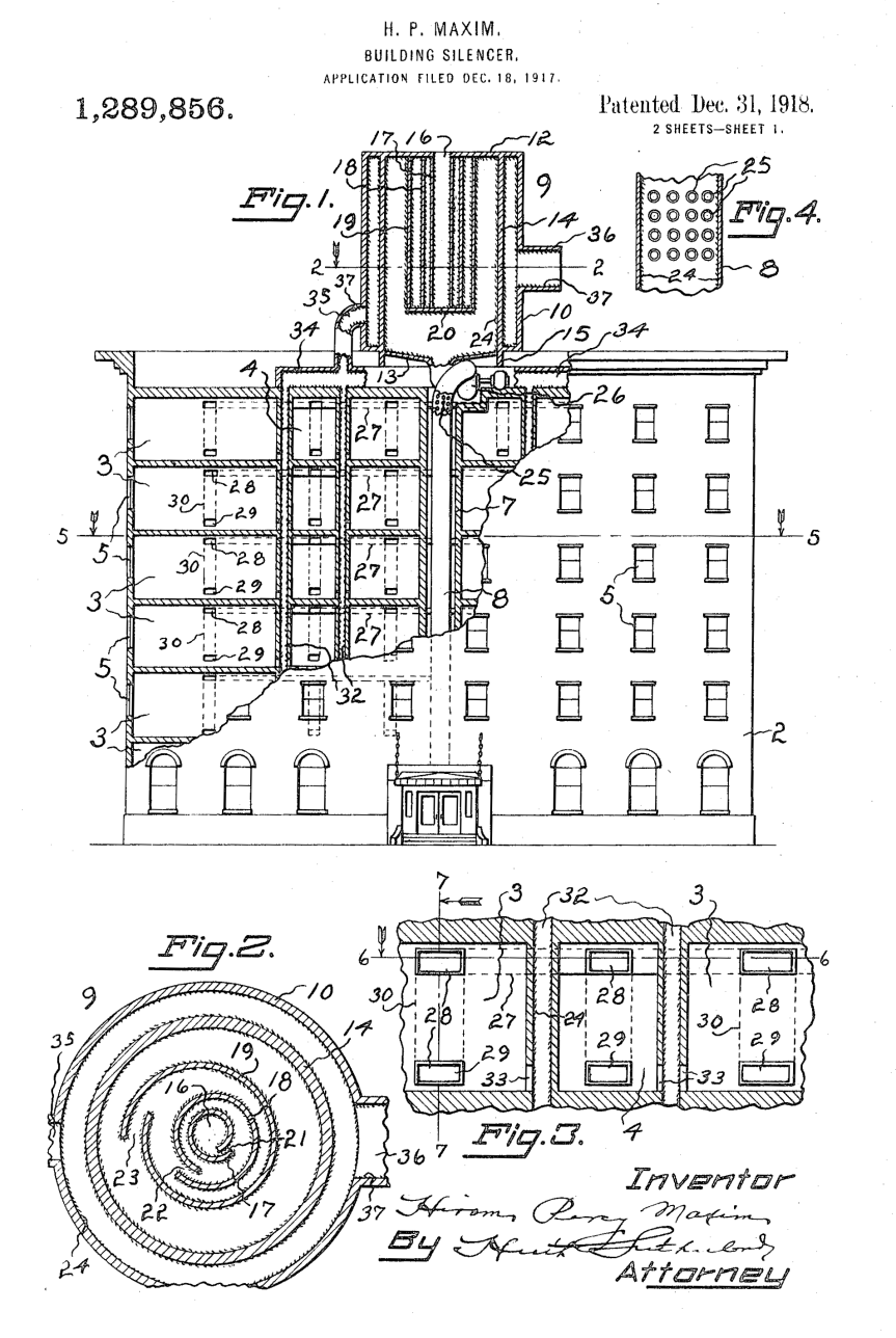 small resolution of h p maxim s 1918 patent for a building silencer us patent office