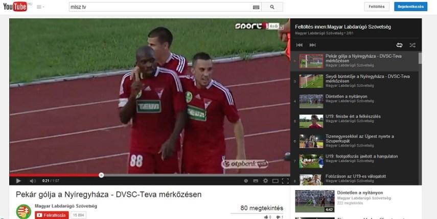 Az MLSZ Youtube-csatornájáról lőtt PrintScreen
