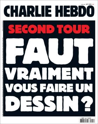"""Prima pagina di """"Charlie Hebdo"""" del 3 maggio 2017."""