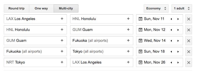 Island Hopper - Google Flights itinerary
