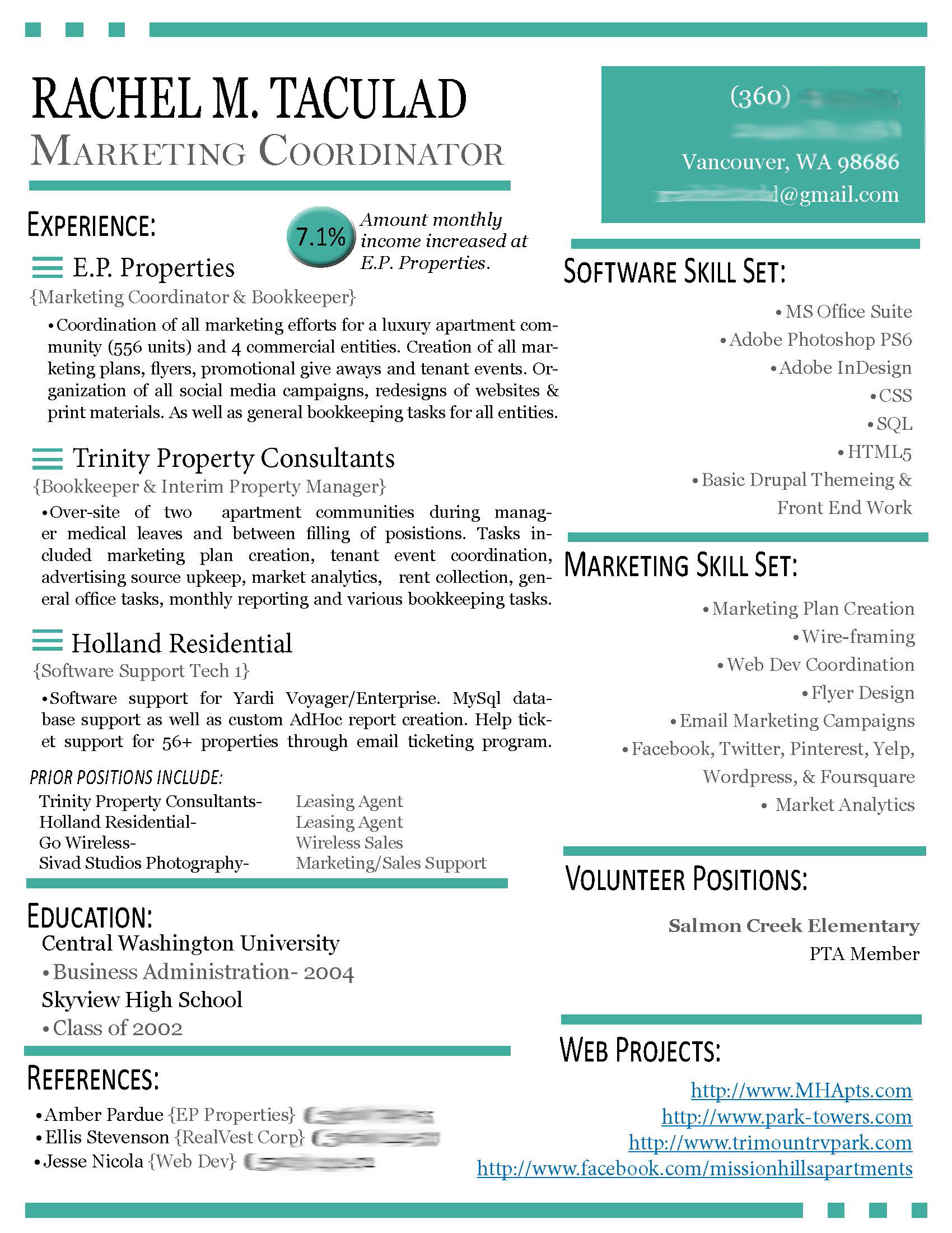 Creative Resumes Modern Résumé Update Left Brain Right Brain