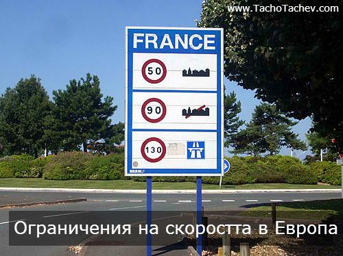 Ограничения на скоростта в Европа