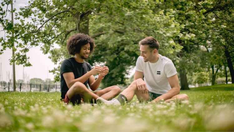 men sitting on green grass field