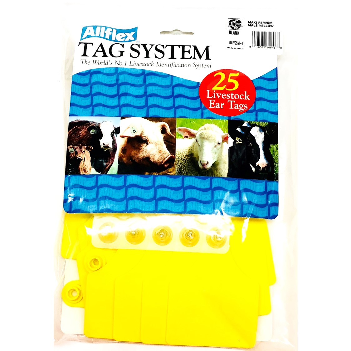 25 Pack Allflex Maxi Yellow Blank Livestock Ear Tags