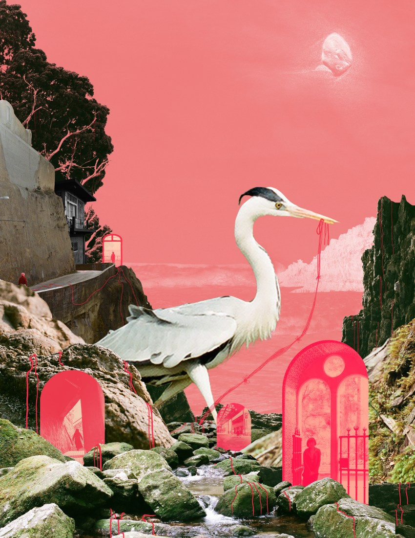 a combination of rocky and river landscapes overlaid on a coral sky with a rock where the moon would be. there are four red doorway portals embedded in the landscape. a grey heron is stalking in the foreground with red string trailing out its beak onto the rocks.