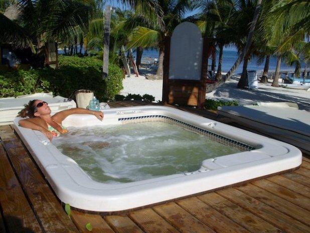 Laura in the hot tub at Caribbean Villas
