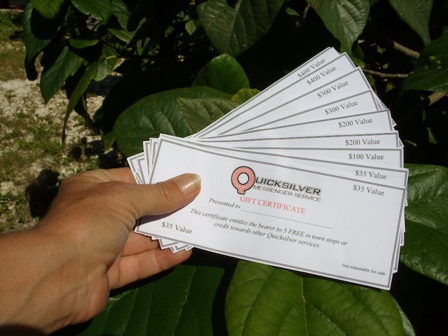 Quicksilver gift certificates