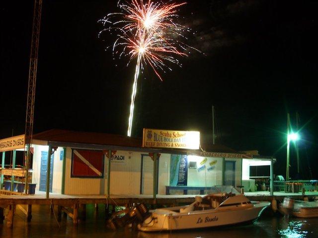 Fireworks behind Ambergris Divers