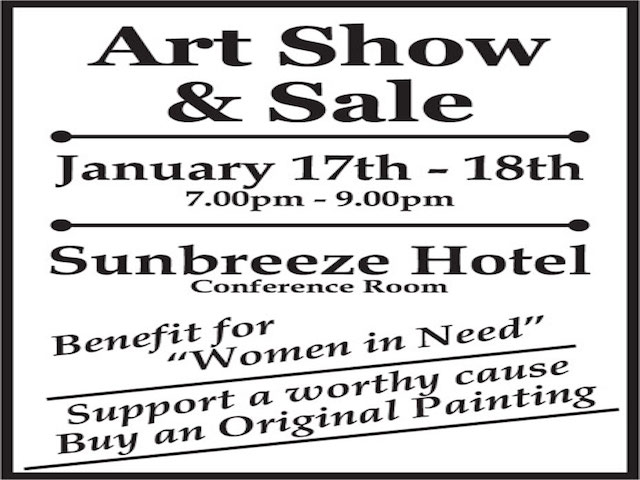 "Art show and sale ad for ""women in need'"
