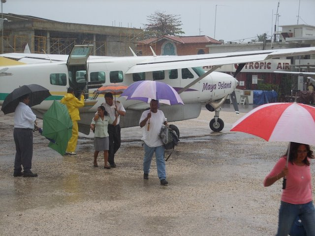 Getting off the plane in the rain