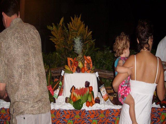 Fruit setp up at Captain Morgan's
