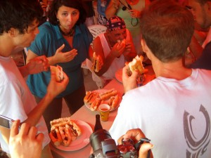 Adult hot dog eating contest
