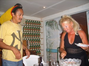 Walter and Maureen serving trifle