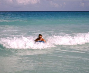 Monel playing in Mexico surf
