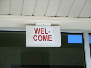 Welcome sign in San Pedro