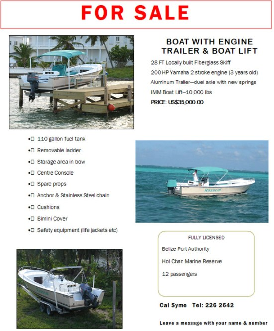 Cal Syme's boat for sale