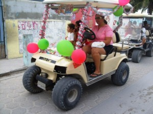 Brightly decorate cart