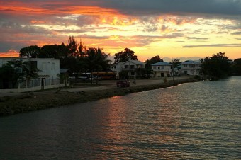 Sunset over Dangriga