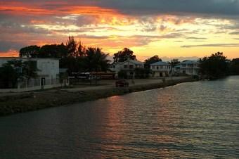 Sunset over Dangriga