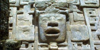 Carved head at Lamani Maya Ruin Belize