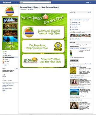 Banana Beach Resort custom facebook landing page