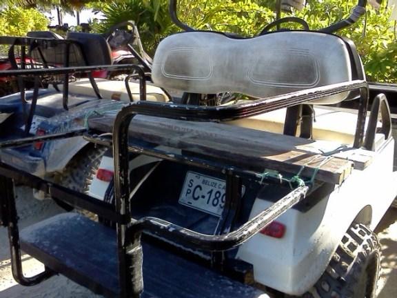 golf cart at catamaran beach bar san pedro belize