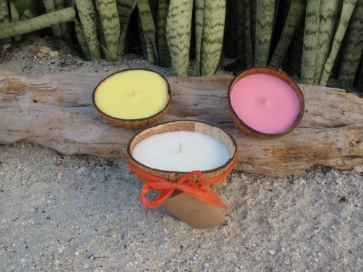 Coconut shell candles made in belize