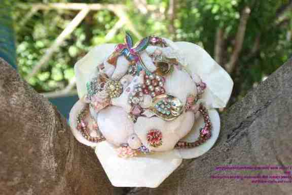 island style weddings shell boquet