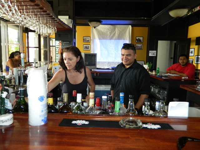 Fermn testing Cindy to see if she spots whatis missing/ needs doing behind the bar