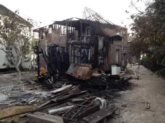 burnt building