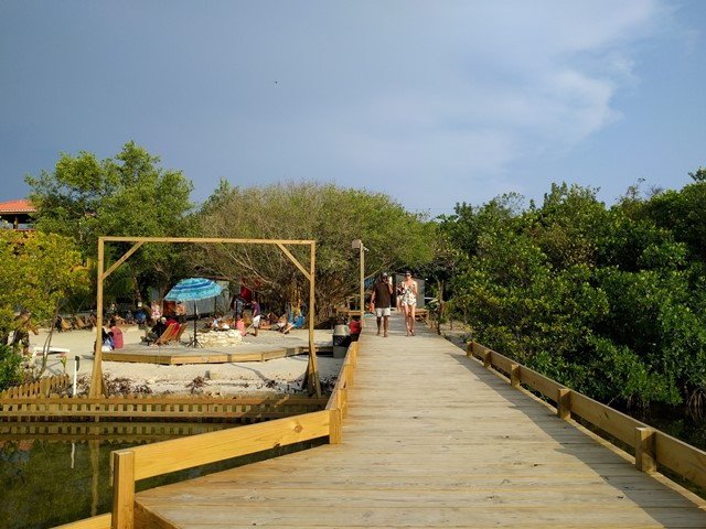 Dock at Truck Stop restaurant Ambergris Caye