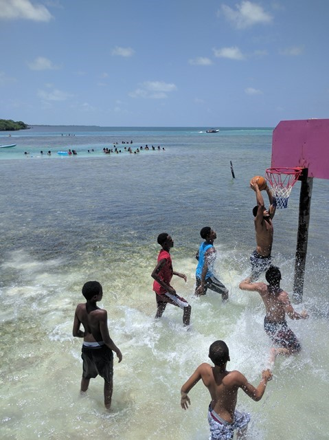 water basketball on Caye Caulker