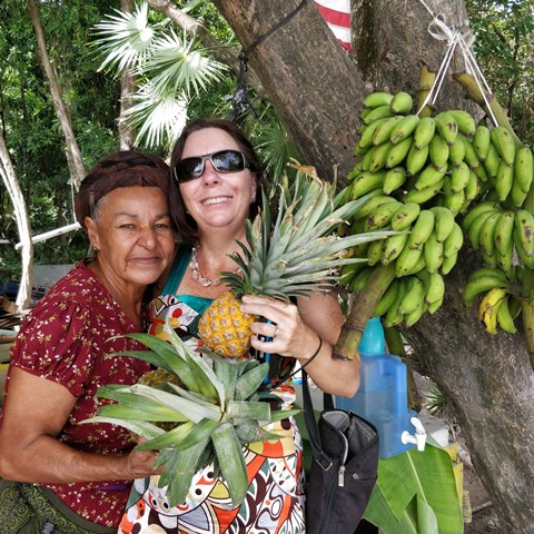 Shopping at Maria's Fruit Stand Ambergris Caye