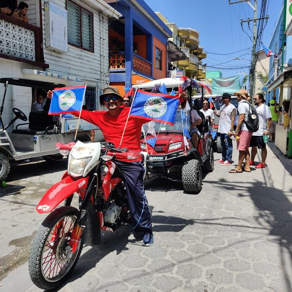 Belize flags on a red motorcycle