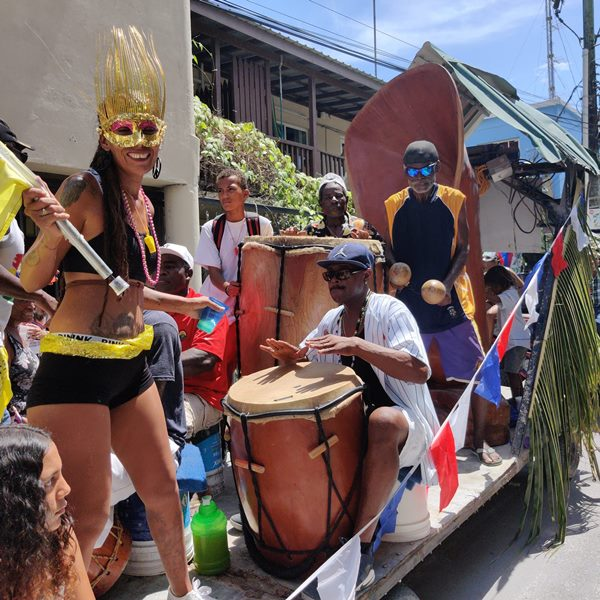 Garifuna drummers on a parade float