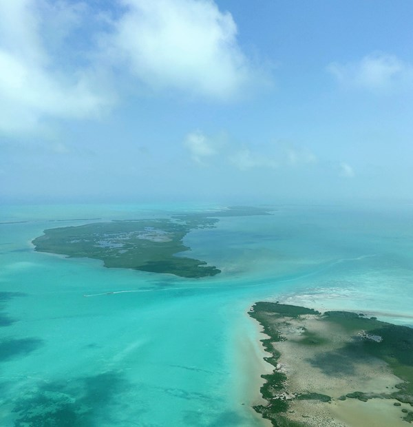 Flying in Belize with a Caribbean Sea view