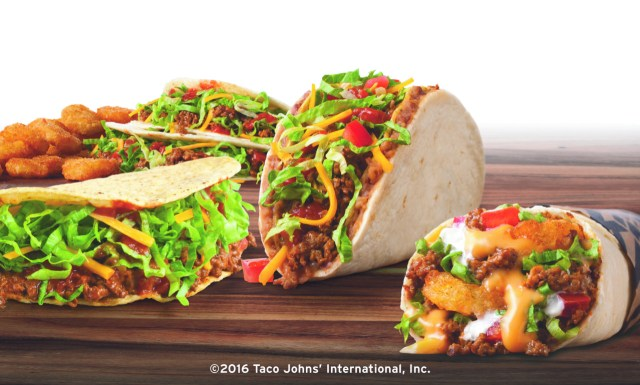 The lineup of tacos at Taco John's.