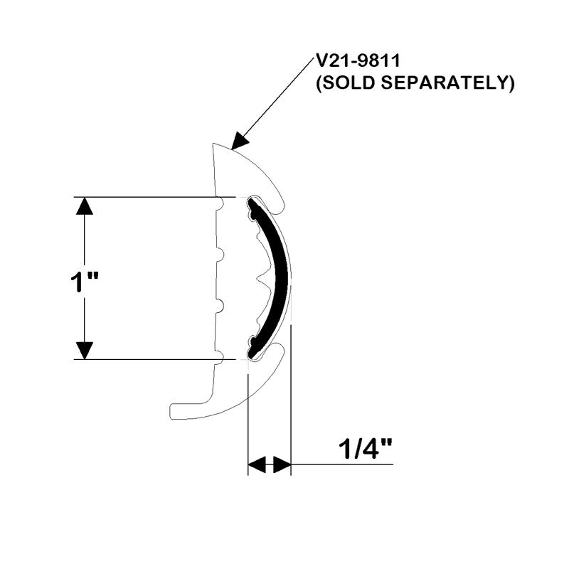 Taco Marine. V12-9809: 1'' x 1/4'' Flex Chrome Insert