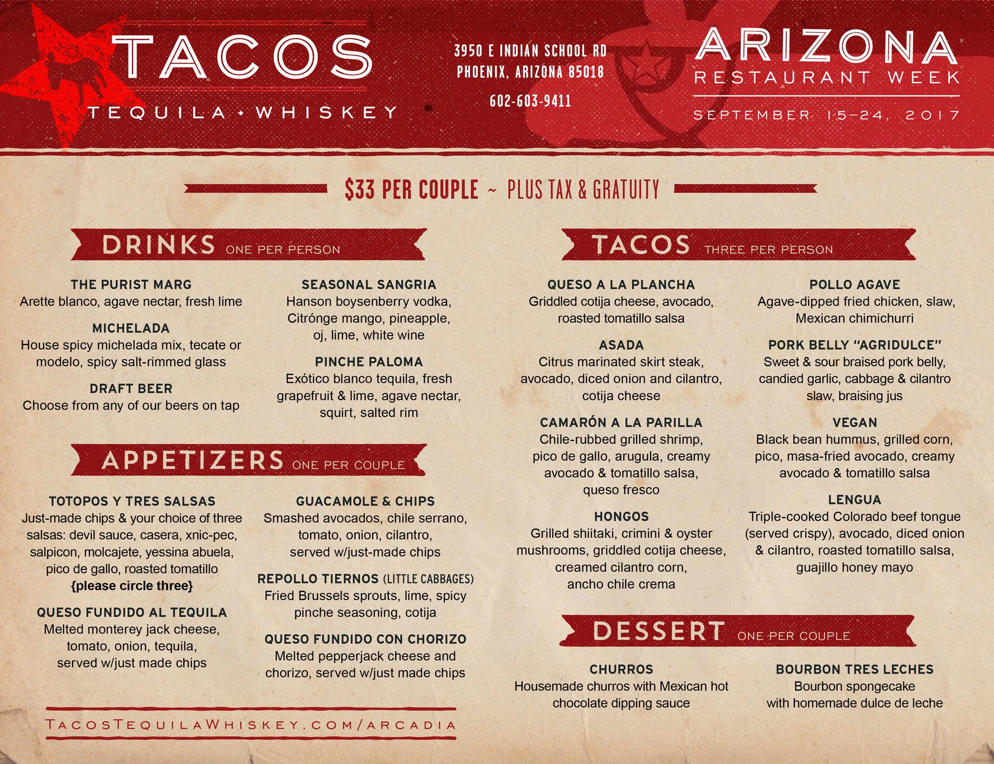moderne gastronomie sch rzen 96 honda civic ac wiring diagram az restaurant week sept 15 24 tacos tequila whiskey modern