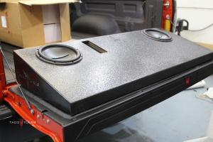 "Toyota Tundra Stock Tacotunes 10"" dual subwoofer"