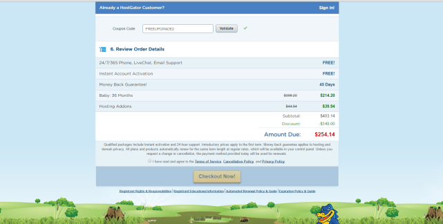 Hostgator checkout