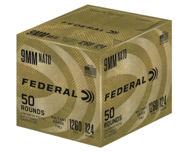 Federal Military Grade Brass 9mm 124 Grain 50-Rounds FMJ