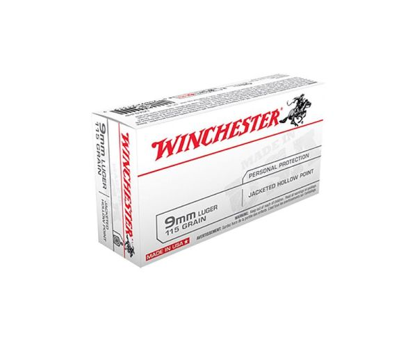 Winchester Ammunition 115 Grain Jacketed Hollow Point Brass 9mm 50Rds