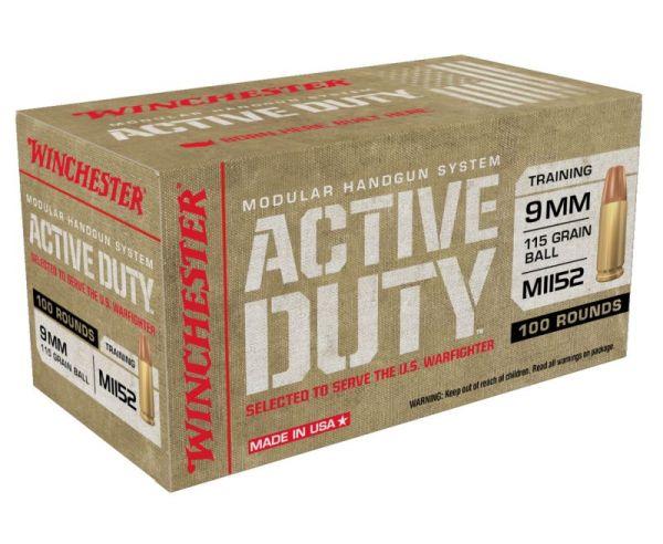 Winchester Ammunition Active Duty Handgun Ammo Brass 9mm 100-Rounds 115 Grain FMJ Flat Nose