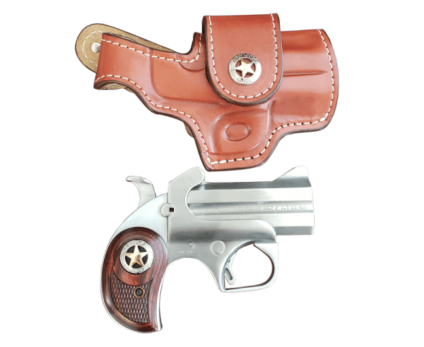 """Bond Arms Rustic Defender Stainless .45 LC 3"""" Barrel 2-Rounds Holster Package"""