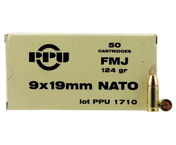 PPU Mil-Spec Brass 9mm 124-Grain 50-Rounds FMJ